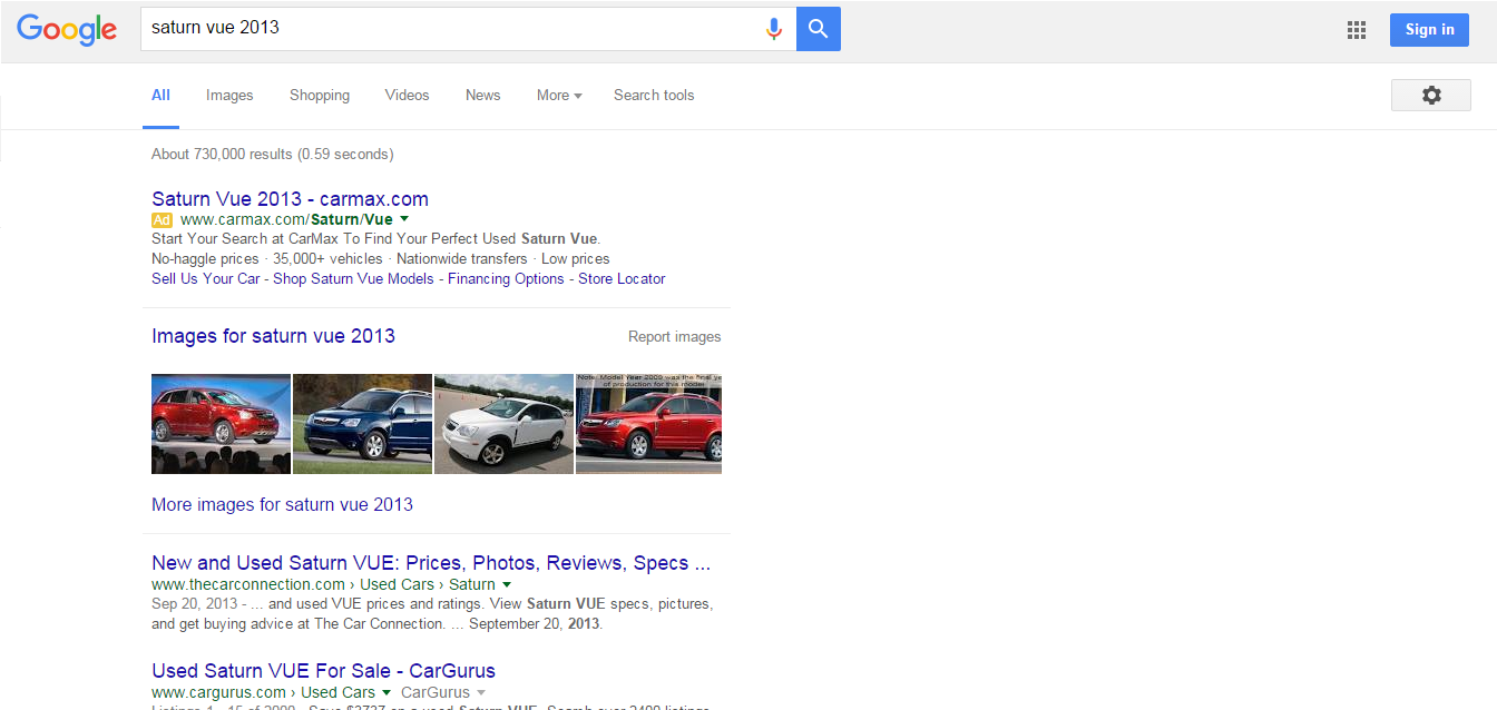 Saturn Vue 2013 Google search without sidebar ads