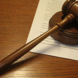 Gavel and legal brief