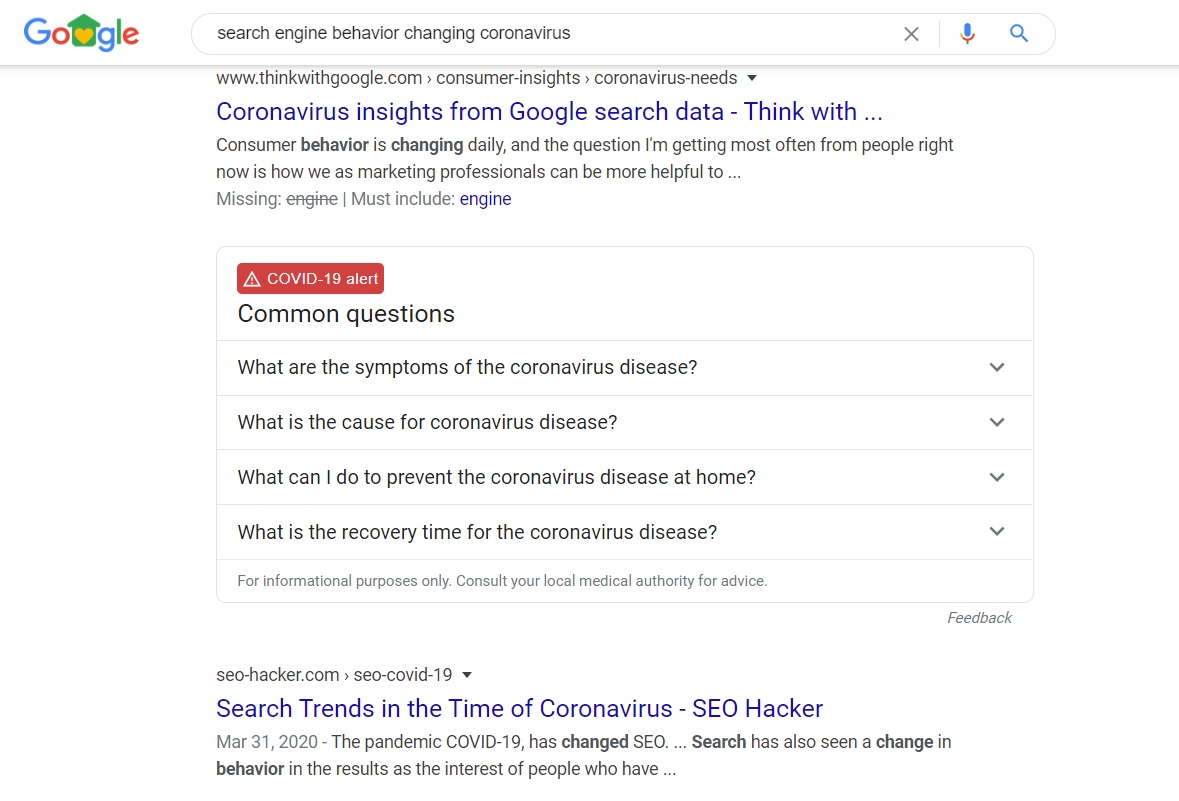 Google's coronavirus features appear in other queries