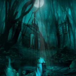 Horror drawing of a forest, with skulls and ruins