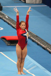 gymnast sticking a landing