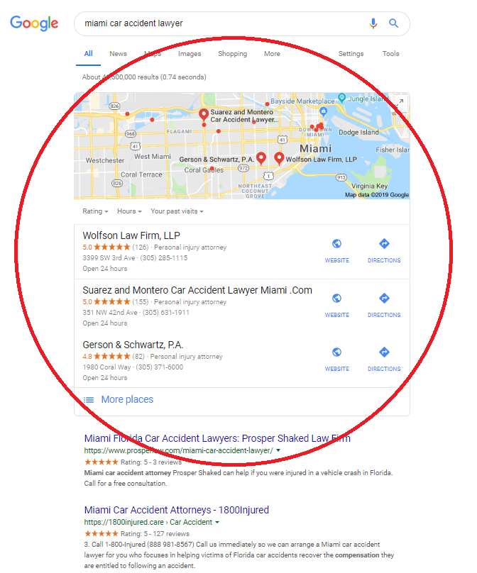 Google local SEO box April 2019