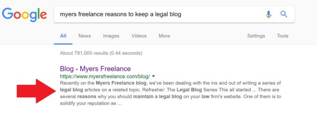 Meta description in Google search engine results page for myers freelance