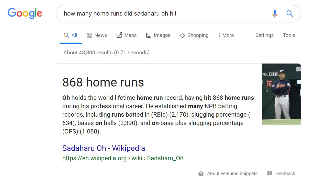 Example of a one true answer in Google results page