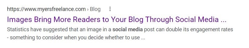 Title line of an article in Google's results page